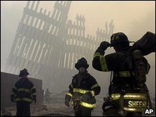 Rescue teams at the ruins of the Twin Towers