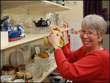Volunteer Fran cleaning shelves
