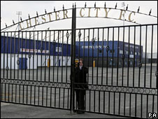 The gates are closed at Chester City, who were expelled from the Conference and liquidated