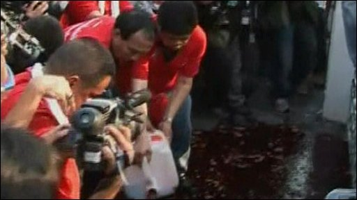 Thai demonstrators pour blood