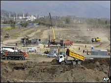 Archive photo of the construction of Olympic facilities in the Imeretinskaya Valley in Sochi, April 2009
