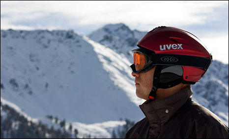 Man in ski helmet