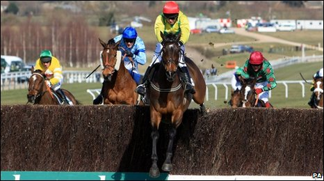 Sizing Europe clears the final fence in the Irish Independent Arkle Challenge on the first day of the 2010 Cheltenham Festival