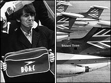 George Harrisson with BOAC bag and BEA tailfins