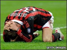 Beckham crumples to the ground in pain