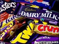 A selection of cadbury chocolate bars