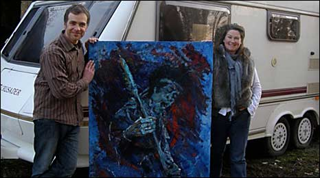 Tobias Ward-Edwards and Nick Viney with the painting