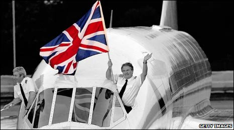 Concorde with union flag