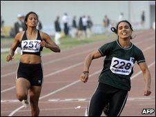 "file picture taken on February 8, 2010, Pakistani athlete Naseem Hamid (Right) wins gold in the women""s 100 metre race at the 11th South Asian Games in Dhaka."