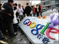 Gathering outside Google's offices in Beijing, China - 14 January  2010
