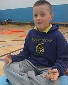 Scottish school child Brandon says yoga has clamed him down