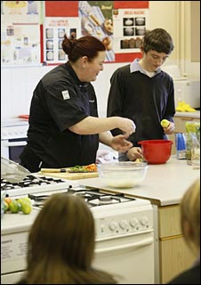 Lesley Ball makes muffins and noodle salad with pupils