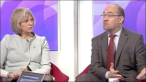 Theresa May and Kim Knight