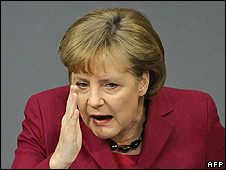 Germany's Chancellor Angela Merkel in Bundestag, 17 Mar 10