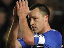 John Terry at the end of Chelsea's 0-1 defeat to Inter Milan at Stamford Bridge