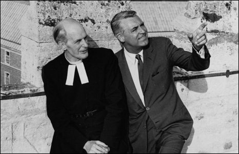 Cary Grant on the roof of the Cathedral with Dean Harrison in 1965