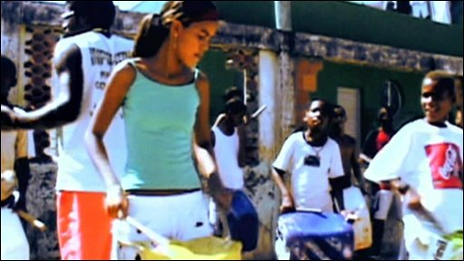 Playing drums in the favelas