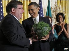 Brian Cowen presents Barack Obama with a bowl of shamrock