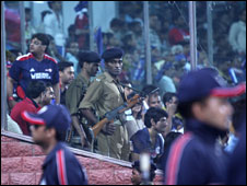 Police at IPL match in Delhi