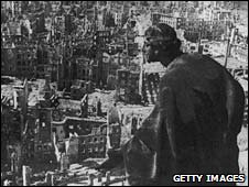 View of Dresden from City Hall Tower after the 1945 bombing