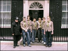 The scout group outside Downing Street