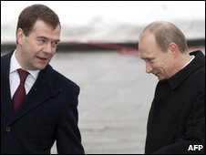 President Dmitry Medvedev and PM Vladimir Putin in February 2010