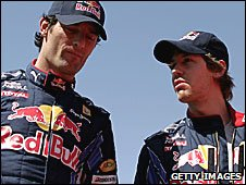 Mark Webber and Red Bull team-mate Sebastian Vettel