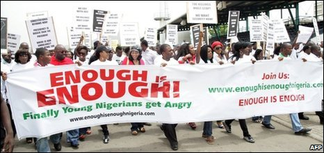 Young Nigerians protest at the state of the nation, 16/03