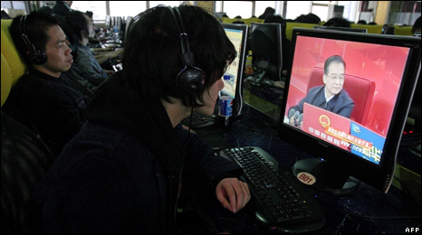 A web user watches Chinese Premier Wen Jiabao