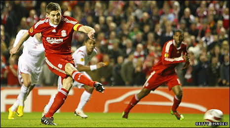 Steven Gerrard slots in his penalty