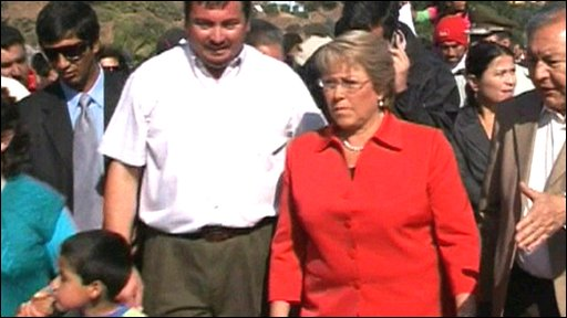 Outgoing Chilean President, Michelle Bachelet tours region hit by earthquake