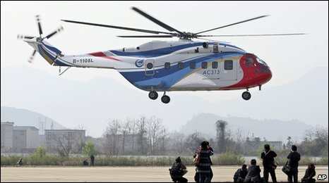 AC313 helicopter during a test flight in Jingdezhen city, Jiangxi province
