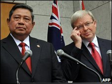 File image of Indonesia President Susilo Bambang Yudhoyono and Australian Prime Minister Kevin Rudd from 10 March 2010