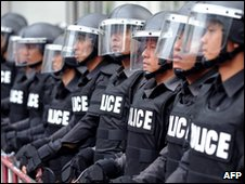 Police in Bangkok on 17 March 2010