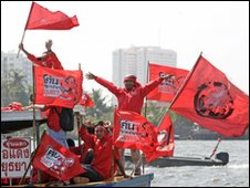Red protesters arrive in Bangkok for the demonstrators on 14 March 2010