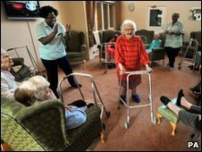 Elderly residents in a London nursing home