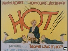 A Lobby card is shown for Billy Wilders Some Like It Hot, 1959, starring Marilyn Monroe, Tony Curtis, and Jack Lemmon.