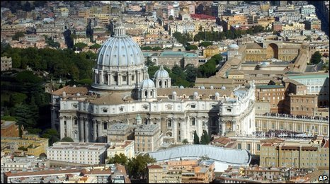 aerial shot of the Vatican