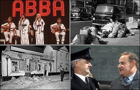 Clockwise from top left - Abba, evidence of a strike by dustmen, Porridge, and a bombed Guildford pub
