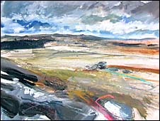 Saul Cathcart: Detail of Light on the land and distant cloud, littaford tors, dartmoor