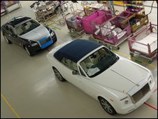 Rolls-Royce cars in the factory