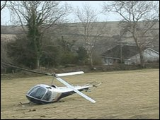 Helicopter crashed in a field in Isle of Man