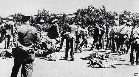Scene of the massacre in the South African township of Sharpeville on March 21st 1960. The police opened fired on a demonstration against apartheid laws, killing 69 people, and wounding 180.
