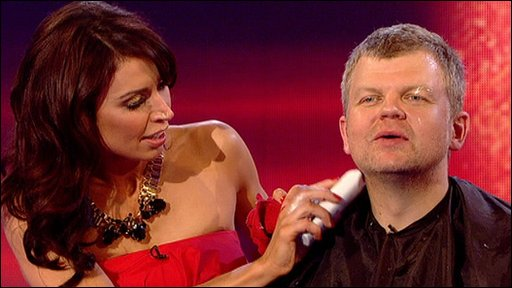 Christine Bleakley shaving Adrian Chiles
