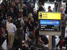 Passengers at Terminal 5, Heathrow Airport