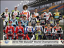 The assembled 2010 MotoGP line-up