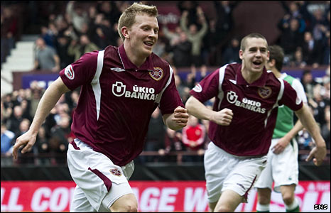 Hearts players Andrew Driver and Gary Glen
