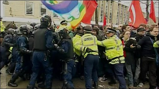 Protesters clash with police