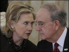 US Secretary of State Hillary Clinton with US Middle East envoy George Mitchell at Moscow Quartet meeting - 17 March 2010