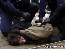 Protester arrested during EDL and UAF stand off in Bolton